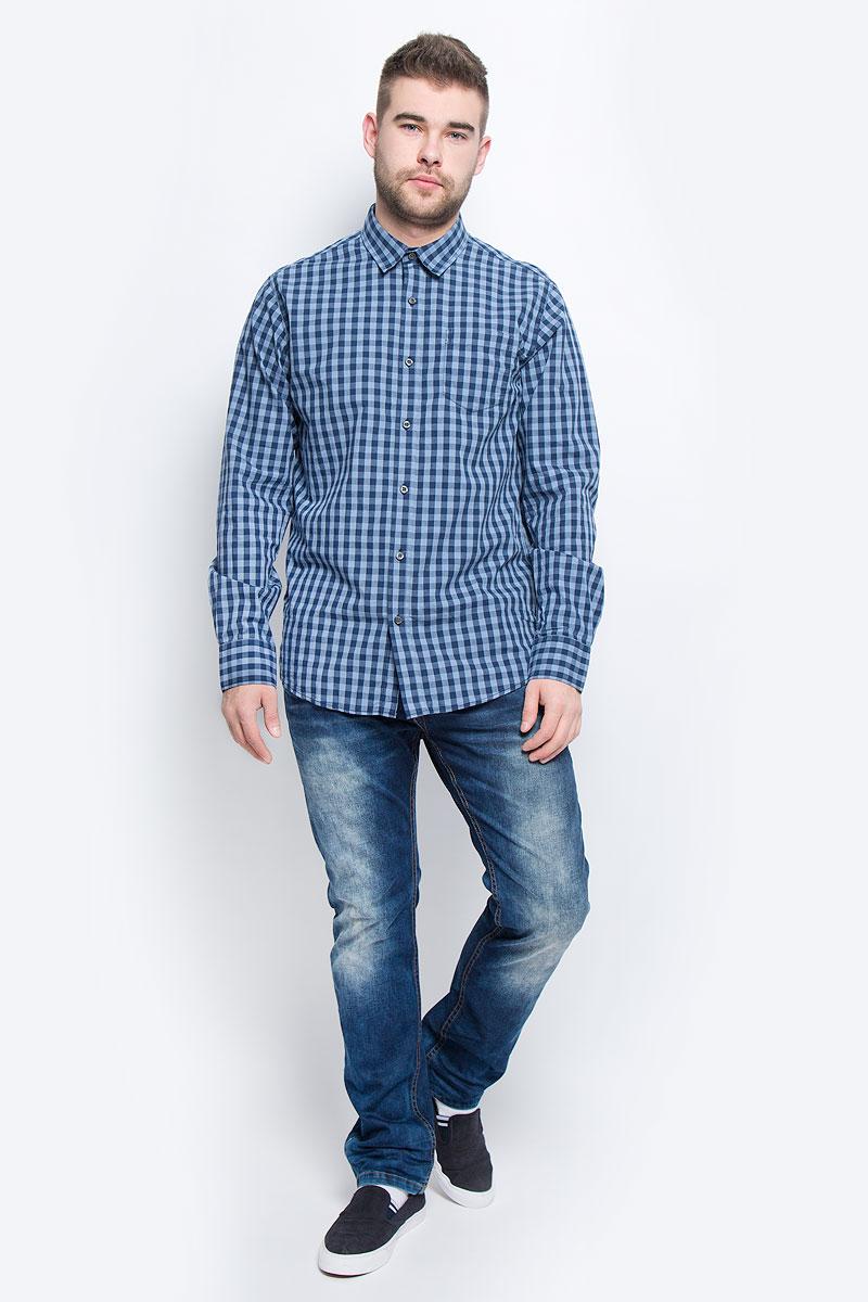 Рубашка20100438_574Мужская рубашка Broadway выполнена из натурального хлопка. Рубашка с длинными рукавами и отложным воротником застегивается на пуговицы спереди. Манжеты рукавов также застегиваются на пуговицы. Рубашка оформлена принтом в клетку. На груди расположен накладной карман.
