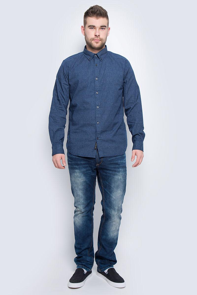 Рубашка20100282_574Мужская рубашка Broadway Nestore выполнена из натурального хлопка. Модель с отложным воротником и длинными рукавами застегивается на пуговицы. Воротник и манжеты рукавов дополнены застежками- пуговицами. Изделие оформлено мелким контрастным принтом.
