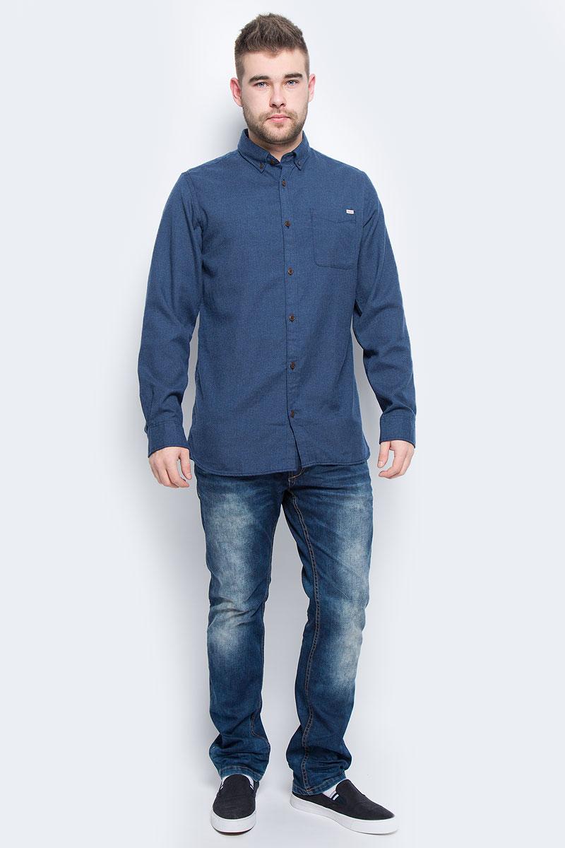 12113437_Grey MelangeМужская рубашка Jack & Jones выполнена из полиэстера с добавлением вискозы. Рубашка с длинными рукавами и отложным воротником застегивается на пуговицы спереди. Манжеты рукавов также застегиваются на пуговицы. На груди расположен накладной карман.