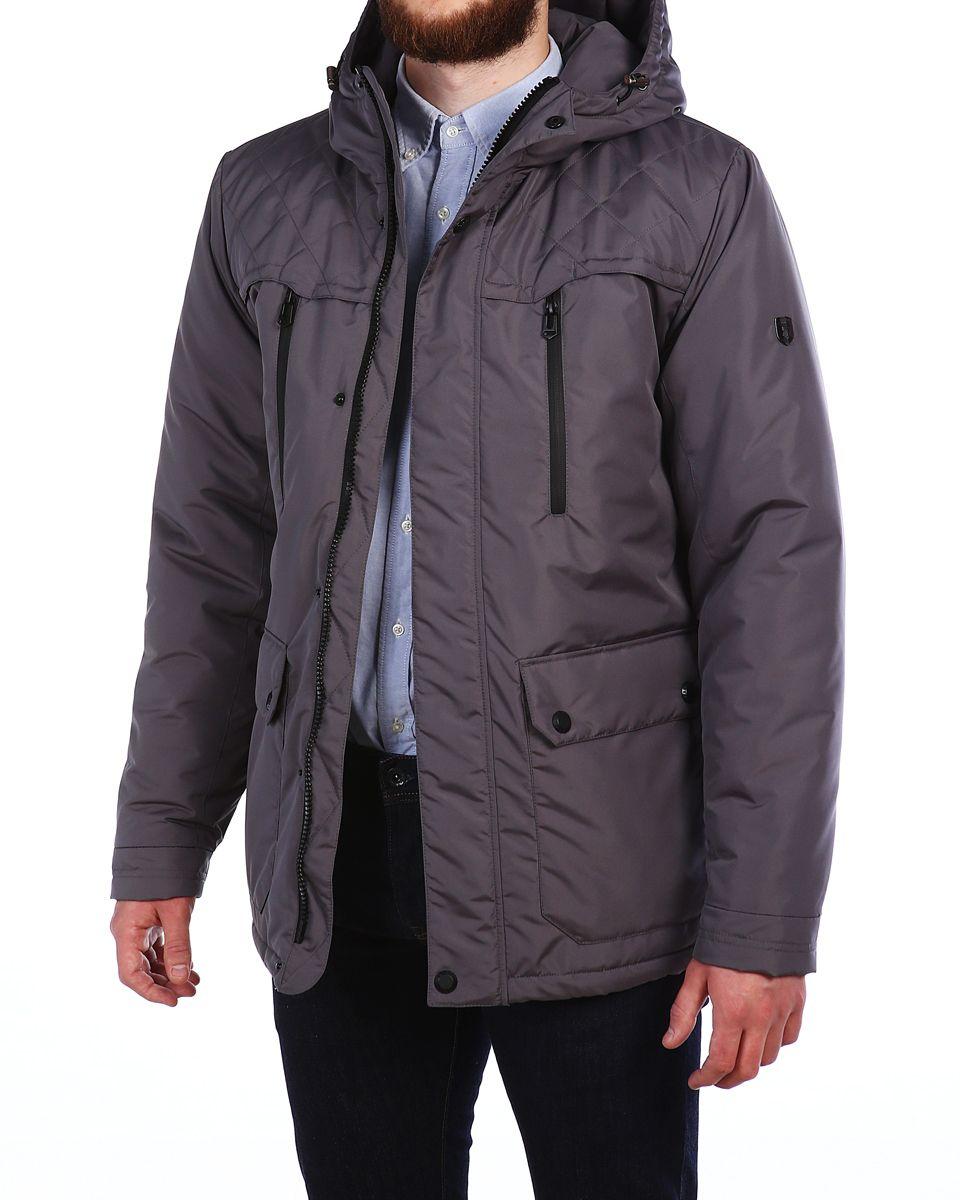 Куртка16602_Blue GraphiteМужская куртка Xaska выполнена из 100% полиэстера. В качестве подкладки также используется полиэстер, а в качестве утеплителя - термофинн. Термофинн разработан специально для российских условий и содержит сертифицированные безопасные компоненты и гипоаллерген. Такой материал долговечен и надежен, выдерживает большое количество стирок и отлично сохраняет форму, а также быстро высыхает после намокания. Модель с несъемным капюшоном застегивается на застежку-молнию с двумя бегунками и имеет ветрозащитную планку на кнопках. Край капюшона дополнен эластичным шнурком-кулоской со стоплерами. Манжеты рукавов дополнены эластичными вставками, а низ изделия - эластичным шнурком-кулиской со стоплерами. Спереди расположено два накладных кармана с клапанами на кнопках, два открытых боковых кармана и два прорезных кармана на застежках-молниях, а с внутренней стороны - два прорезеных кармана на застежках-молниях. Куртка оформлена фирменной металлической нашивкой.