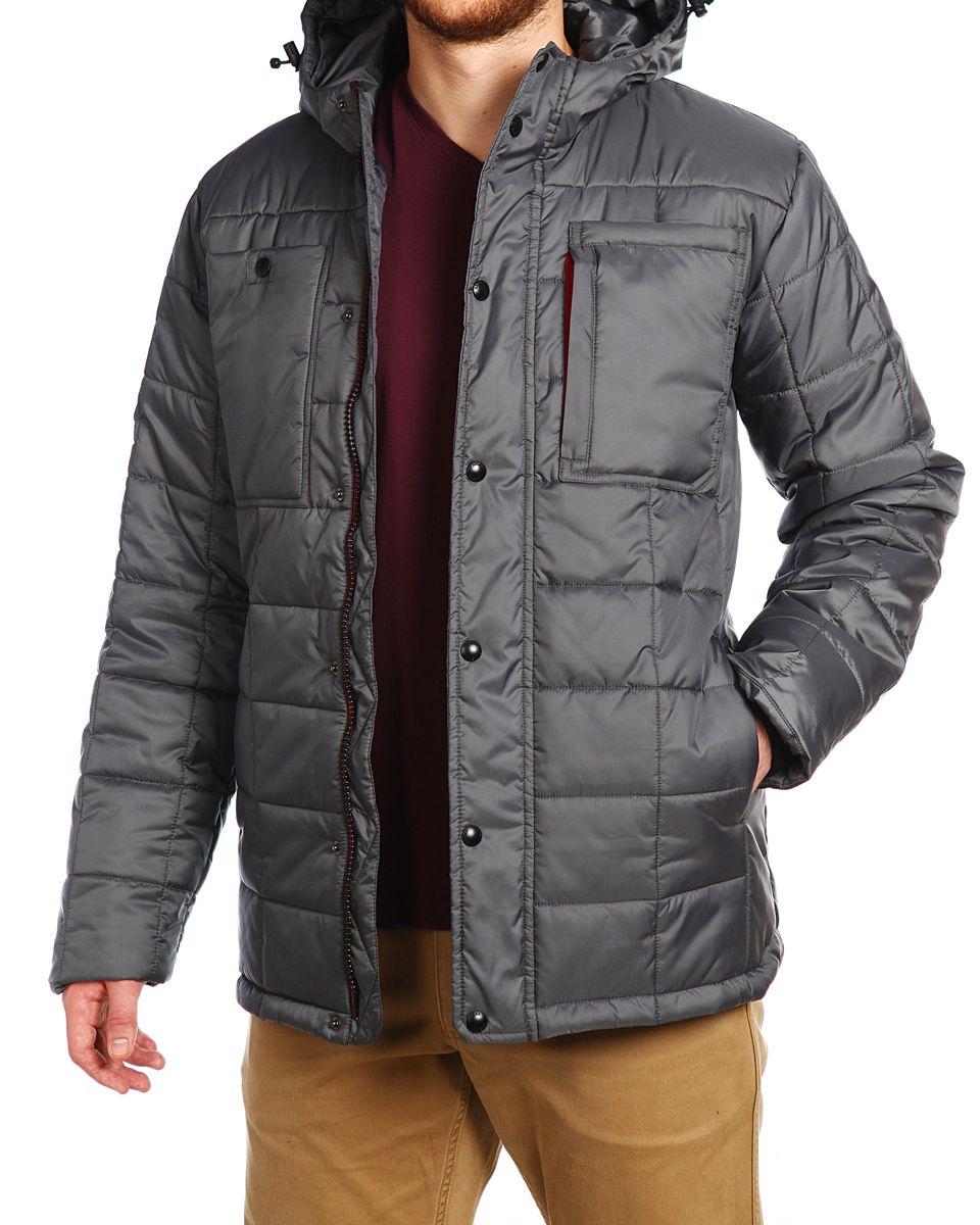 Куртка15506_Urban RedМужская куртка Xaska изготовлена из высококачественного полиэстера. В качестве утеплителя используется полиэстер. Куртка с несъемным капюшоном застегивается на застежку-молнию, а также дополнительно имеет ветрозащитную планку на кнопках. Капюшон оснащен текстильным шнурком со стопперами. Рукава дополнены внутренними эластичными манжетами. Спереди расположены два накладных кармана и три прорезных. Внутри изделие дополнено двумя прорезными карманами на застежках-молниях.