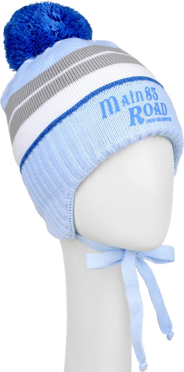 Шапка детскаяM3798-22Теплая шапка для мальчика ПриКиндер выполнена из высококачественного акрила и теплой шерсти. Подкладка выполнена из сочетания хлопка и лайкры. Шапка с отворотом оформлена контрастным принтом в полоску и на макушке дополнена пушистым помпоном. По бокам модель дополнена удлиненными ушками, которые можно завязать на шнурочки. Уважаемые клиенты! Размер, доступный для заказа, является обхватом головы.