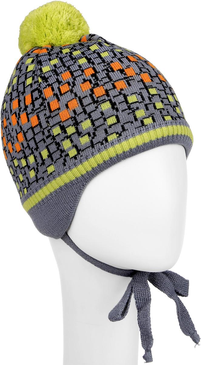 Шапка детскаяM3714-22Теплая шапка для мальчика ПриКиндер выполнена из высококачественного акрила и теплой шерсти. Подкладка выполнена из сочетания хлопка и лайкры. Шапка оформлена контрастным принтом и на макушке дополнена пушистым помпоном. По бокам модель дополнена удлиненными ушками, которые можно завязать на шнурочки. Уважаемые клиенты! Размер, доступный для заказа, является обхватом головы.