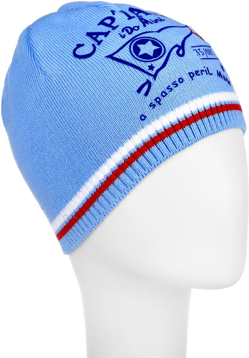 M3601-22Теплая шапка для мальчика ПриКиндер выполнена из сочетания высококачественного хлопка с акрилом. Шапка по краю выполнена трикотажной резинкой и оформлена контрастным принтом с надписями. Уважаемые клиенты! Размер, доступный для заказа, является обхватом головы.
