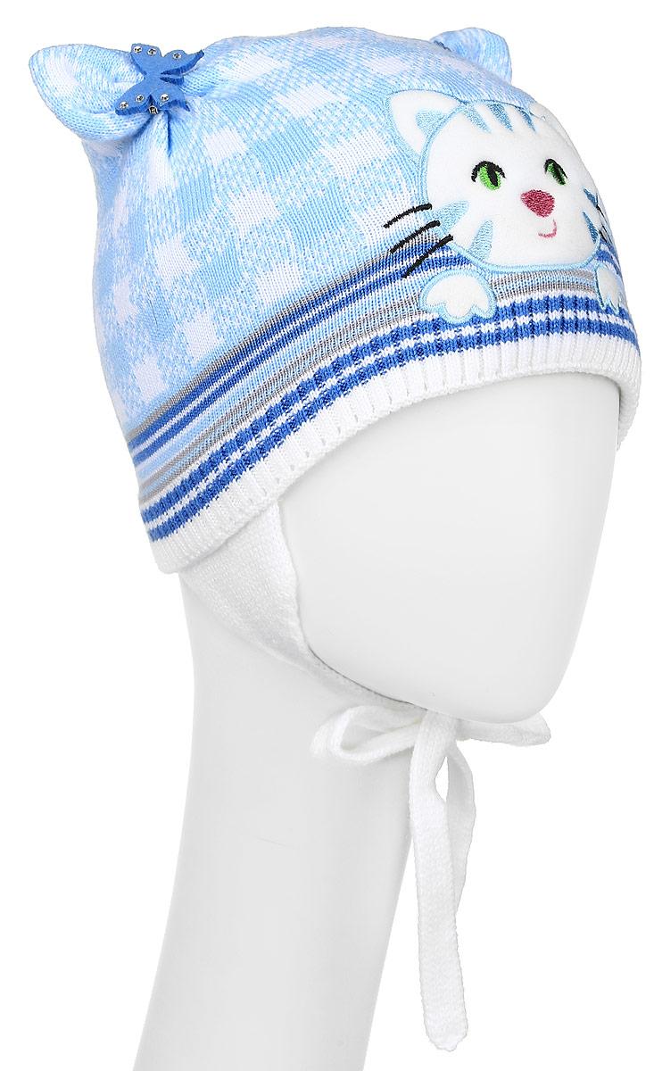 D3657-22Стильная шапка для девочки ПриКиндер идеально подойдет для прогулок и активных игр на свежем воздухе. Шапка выполнена из высококачественной пряжи на основе акрила с добавлением хлопка, она невероятно мягкая и приятная на ощупь, великолепно тянется и удобно сидит. Подкладка выполнена их эластичного хлопка. Такая шапочка великолепно дополнит любой наряд. Шапка дополнена ушками с завязками под подбородок. Модель украшена аппликацией с вышивкой в виде кошки и дополнена оригинальными ушками со съемными брошками в виде бабочек со стразами. Удобная шапка станет модным и стильным дополнением гардероба вашей маленькой принцессы, надежно защитит ее от холода и ветра и поднимет ей настроение даже в пасмурные дни! Уважаемые клиенты! Размер, доступный для заказа, является обхватом головы.