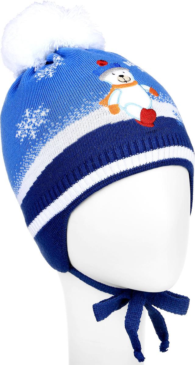 Шапка детскаяM2793-22Теплая шапка для мальчика ПриКиндер, выполненная из акрила с добавлением шерсти, защитит от ветров в холодную погоду. Подкладка изготовлена из хлопка с добавлением лайкры, утеплитель - ORSOTHERM. Модель с помпоном по низу связана резинкой. По бокам шапка дополнена удлиненными ушками с завязками. Оформлено изделие вязаным узором и нашивкой в виде мишки. Уважаемые клиенты! Размер, доступный для заказа, является обхватом головы.