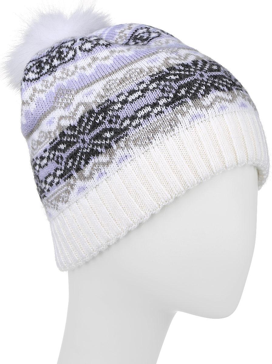 ШапкаW16-12117_101Стильная женская шапка Finn Flare дополнит ваш наряд и не позволит вам замерзнуть в холодное время года. Шапка выполнена из высококачественной пряжи, что позволяет ей великолепно сохранять тепло и обеспечивает высокую эластичность и удобство посадки. Модель оформлена оригинальным орнаментом и дополнена пушистым помпоном из меха песца. Такая шапка станет модным и стильным дополнением вашего гардероба. Уважаемые клиенты! Размер, доступный для заказа, является обхватом головы.