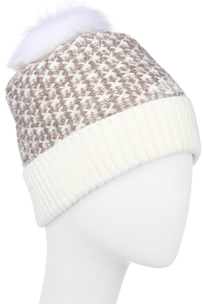 W16-32126_201Стильная женская шапка с отворотом Finn Flare дополнит ваш наряд и не позволит вам замерзнуть в холодное время года. Шапка выполнена из высококачественной пряжи, что позволяет ей великолепно сохранять тепло и обеспечивает высокую эластичность и удобство посадки. Модель оформлена оригинальной вязкой и дополнена пушистым помпоном. Такая шапка станет модным и стильным дополнением вашего гардероба. Уважаемые клиенты! Размер, доступный для заказа, является обхватом головы.