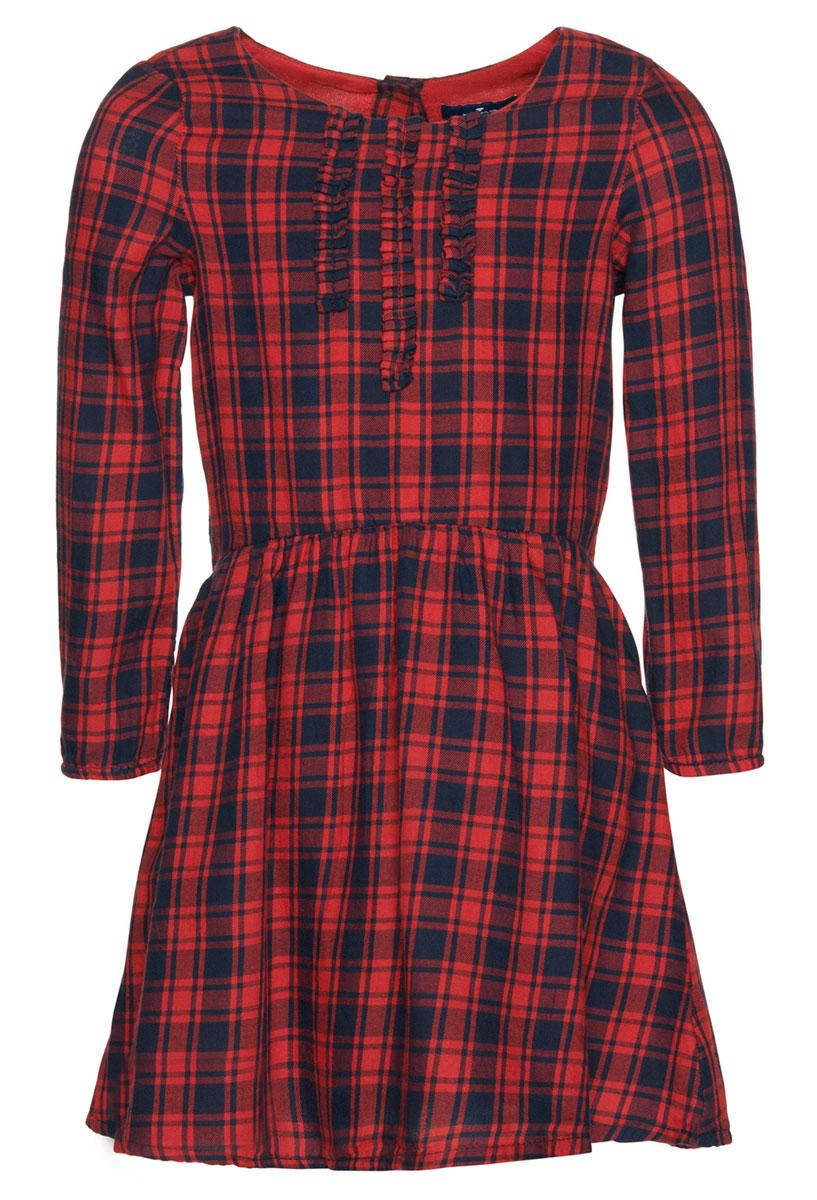 Платье5019453.00.81_4273Очаровательное платье Tom Tailor идеально подойдет вашей дочурке. Изделие выполнено из натурального хлопка и оформлено принтом в клетку. Модель с длинными рукавами и круглым воротником застегивается на пуговицу, расположенную на спинке.