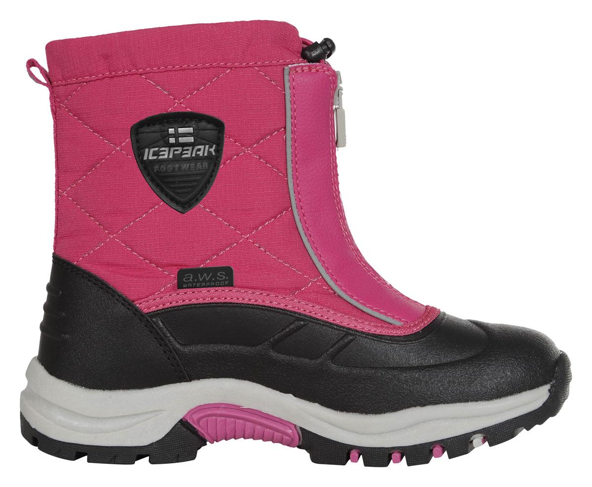 Ботинки672213100IVБотинки для девочек Icepeak, высокие мембранные ботинки WULSTAN. Мембрана A.W.S Waterproof, покрытие A.W.S. Water resistant, стелька A.W.S. Rest foam и новая анти-скользящая подошва. Всё это обеспечит вам максимальный комфорт, даже при длительных прогулках в самых экстремальных погодных условиях. Фиксация осуществляется при помощи застежки на молнии в области голеностопного сустава, а в самом верху затягивается с помощью шнурка со стоппером.