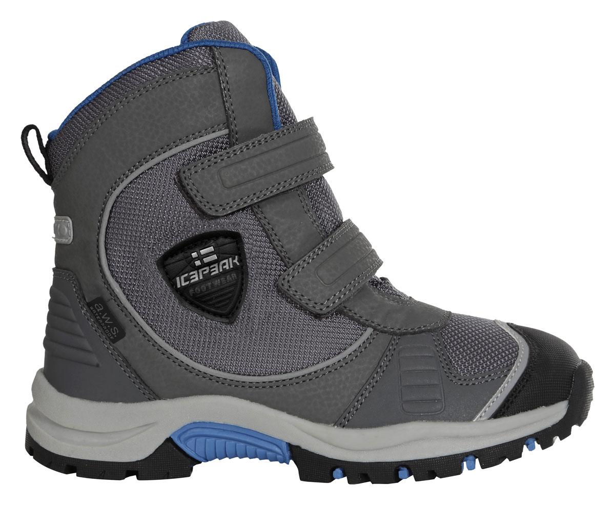 Ботинки672214100IVБотинки для мальчиков Icepeak, высокие мембранные ботинки WULSTAN. Мембрана A.W.S Waterproof, покрытие A.W.S. Water resistant, стелька A.W.S. Rest foam и новая анти-скользящая подошва. Всё это обеспечит вам максимальный комфорт, даже при длительных прогулках в самых экстремальных погодных условиях. Модель оформлена двумя широкими ремешками с застежками-липучками, позволяющими регулировать обхват по размеру.