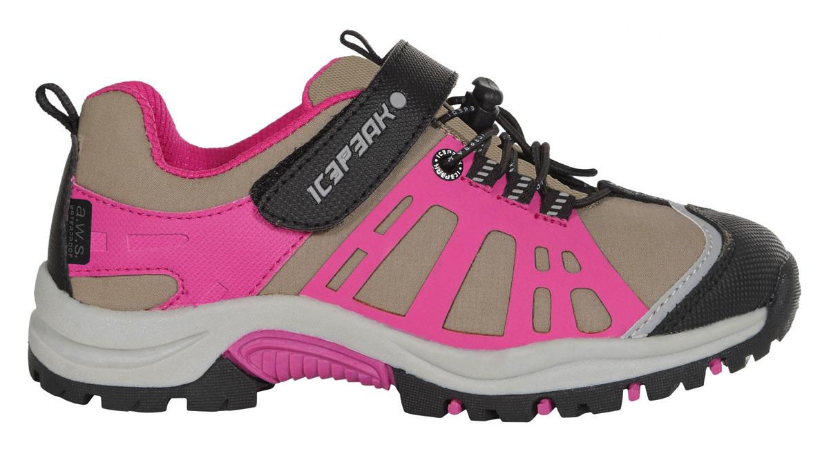 Кроссовки672202100IVКроссовки для детей Icepeak - идеальный вариант для прохладной погоды. Модель на шнурках и с ремешком на липучке в верхней части, изготовлена из комбинированной ткани.