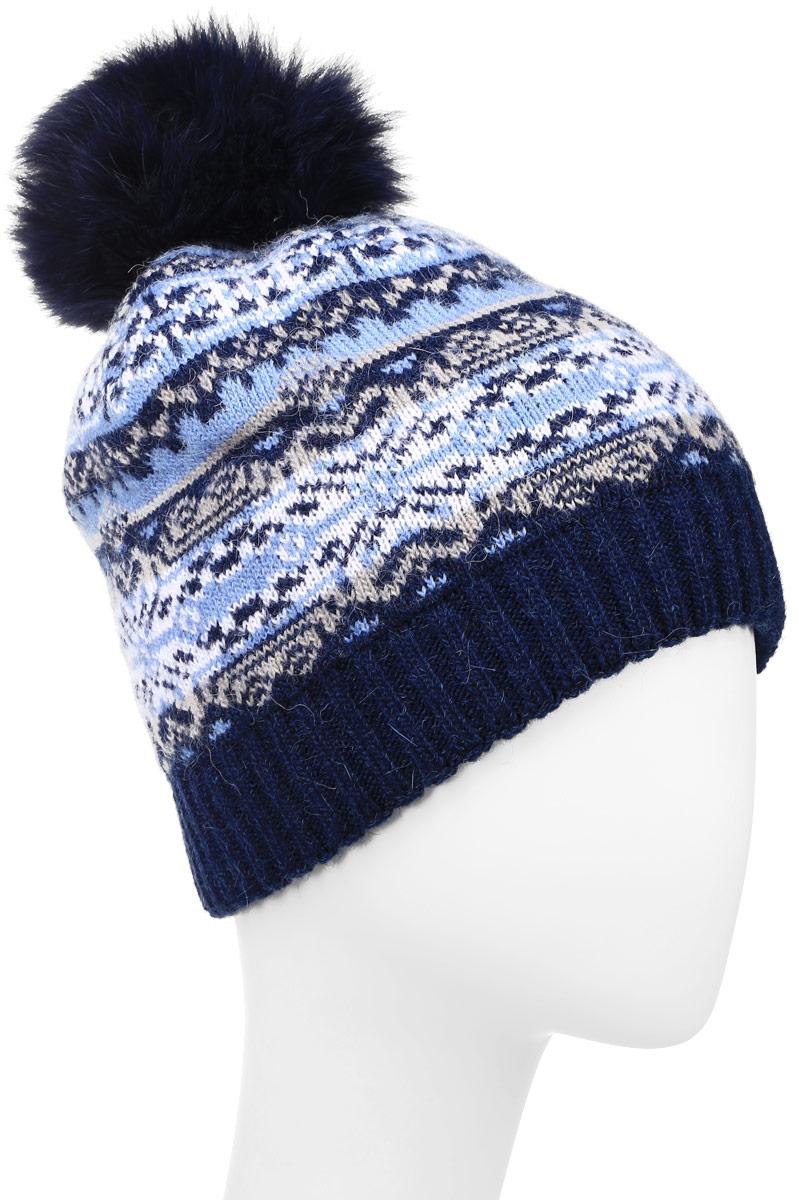 W16-12117_101Стильная женская шапка Finn Flare дополнит ваш наряд и не позволит вам замерзнуть в холодное время года. Шапка выполнена из высококачественной пряжи, что позволяет ей великолепно сохранять тепло и обеспечивает высокую эластичность и удобство посадки. Модель оформлена оригинальным орнаментом и дополнена пушистым помпоном из меха песца. Такая шапка станет модным и стильным дополнением вашего гардероба. Уважаемые клиенты! Размер, доступный для заказа, является обхватом головы.