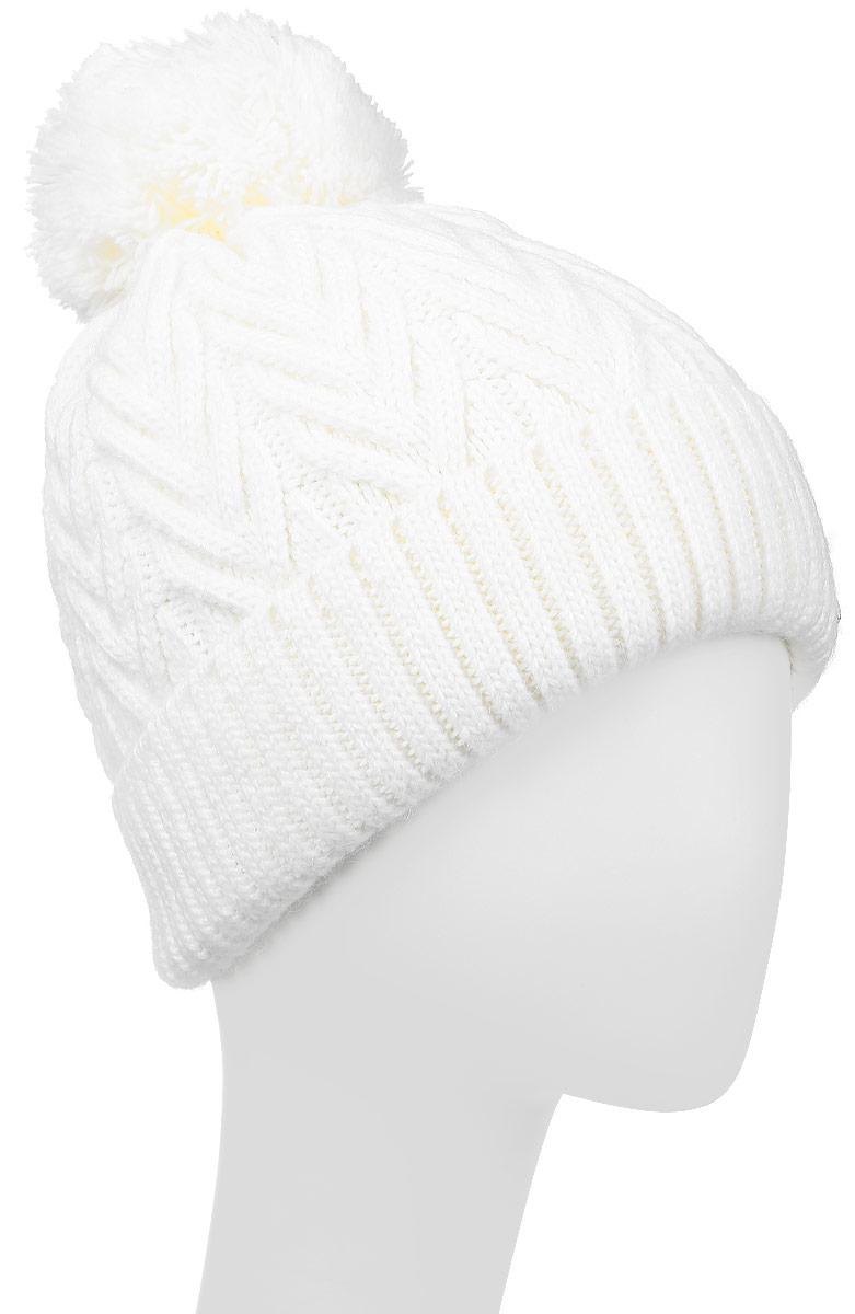 ШапкаW16-11138_709Теплая женская шапка Finn Flare, выполненная из акрила и шерсти, отлично дополнит ваш образ в холодную погоду. Модель с отворотом украшена металлической пластиной с названием бренда и дополнена пушистым помпоном. Отворот связан резинкой. Уважаемые клиенты! Размер, доступный для заказа, является обхватом головы.