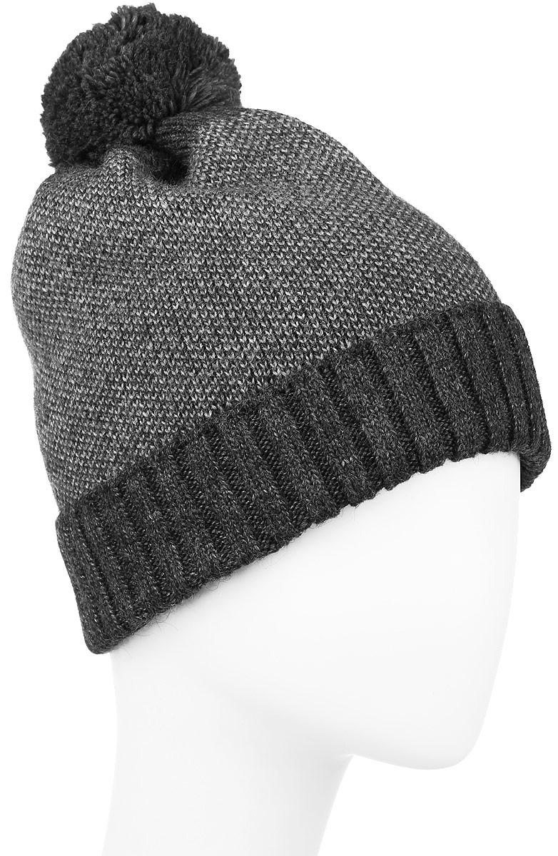 W16-42105_616Мужская шапка Finn Flare, выполненная из акрила с добавлением шерсти, отлично дополнит ваш образ в холодную погоду. Модель с помпоном по низу связана резинкой и дополнена отворотом. Оформлено изделие фирменной металлической нашивкой. Шапка составит идеальный комплект с модной верхней одеждой и подарит вам уют и тепло. Уважаемые клиенты! Размер, доступный для заказа, является обхватом головы.