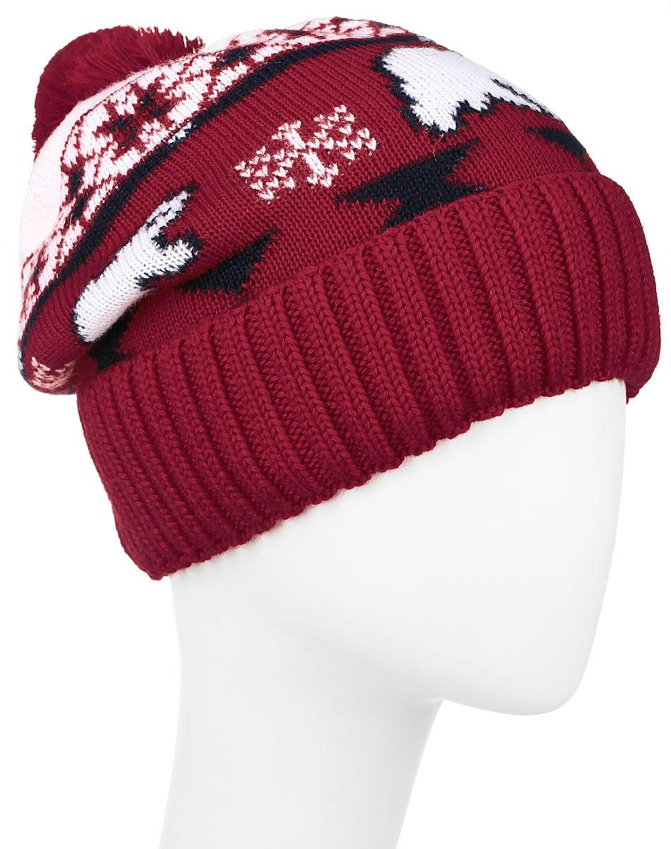ШапкаW16-12130_101Стильная женская шапка Finn Flare дополнит ваш наряд и не позволит вам замерзнуть в холодное время года. Шапка выполнена из акрила и шерсти, что позволяет ей великолепно сохранять тепло и обеспечивает высокую эластичность и удобство посадки. Внутри мягкая подкладка из полиэстера. Модель оформлена оригинальным орнаментом и дополнена пушистым помпоном. Такая шапка станет модным и стильным дополнением вашего гардероба. Уважаемые клиенты! Размер, доступный для заказа, является обхватом головы.