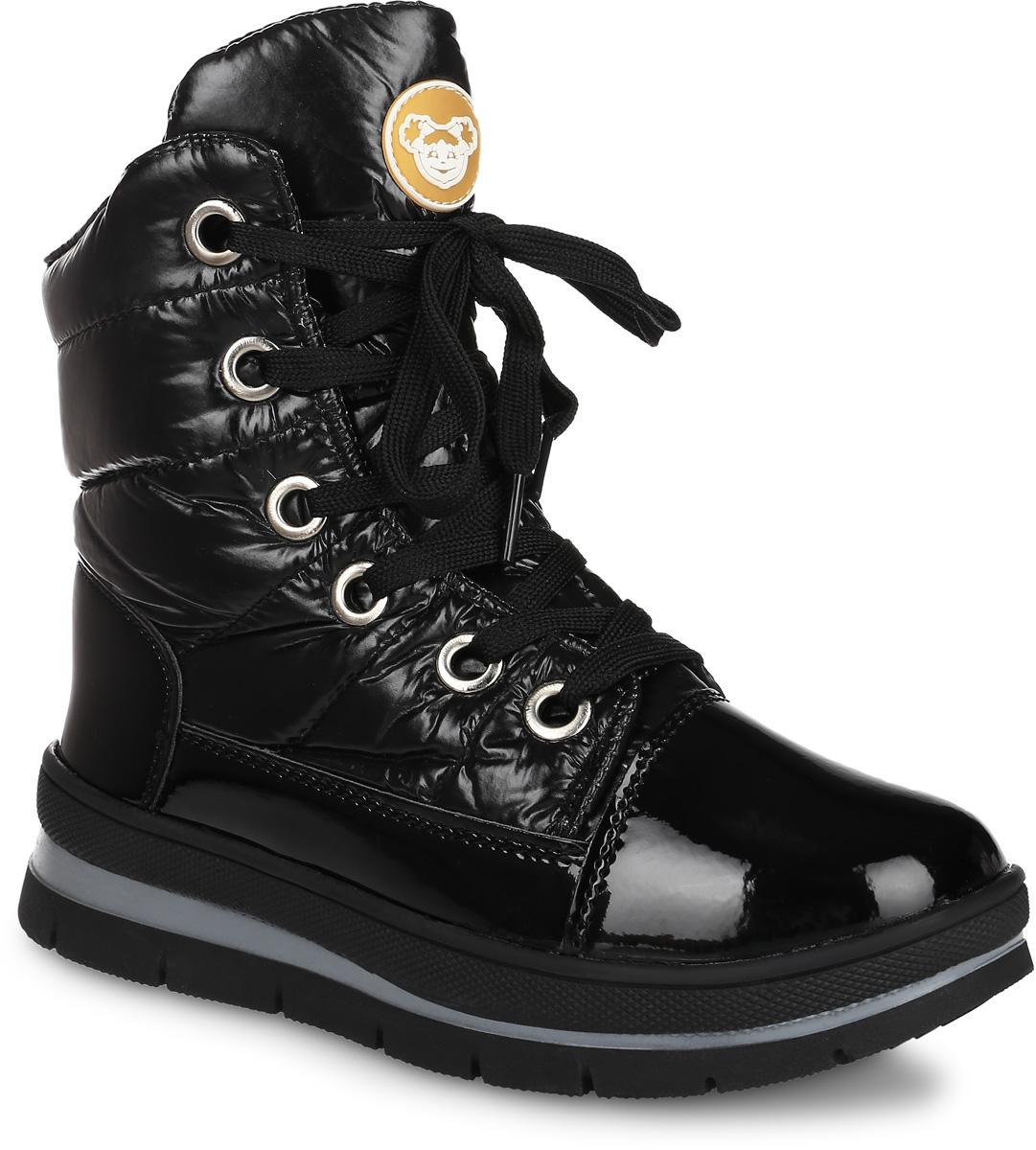 6101B_BLACKДутики в виде ботинок от Mon Ami выполнены из водонепроницаемого текстиля и укреплены по низу вставкой из искусственной лаковой кожи. Модель на шнуровке, боковая сторона дополнена застежкой-молнией, при помощи которой регулируется объем голенища. Подкладка и стелька изготовлены из искусственного меха. Подошва из полимерного термопластичного материала оснащена рифлением.