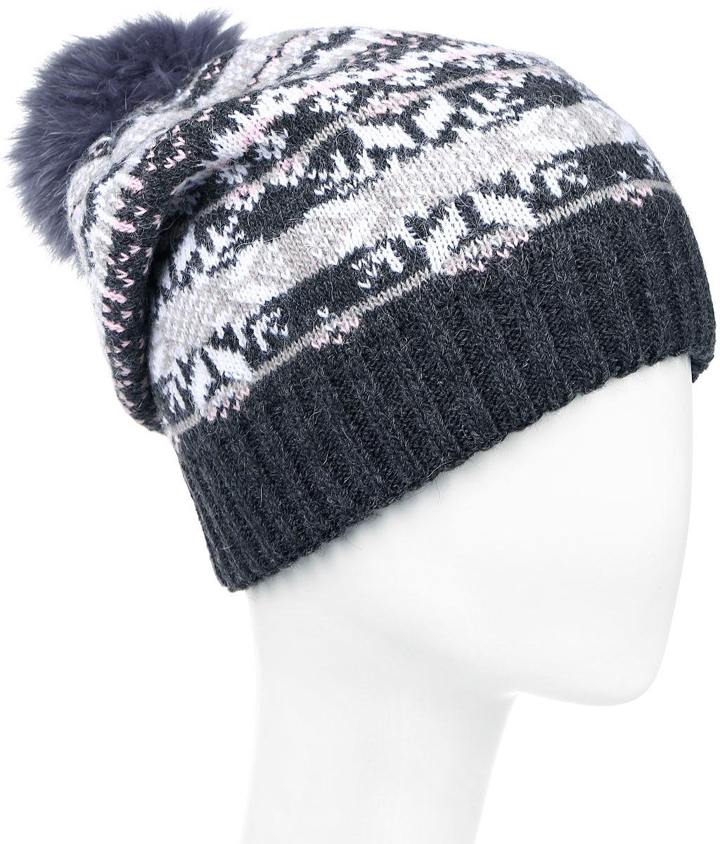 ШапкаW16-12127_201Стильная женская шапка Finn Flare дополнит ваш наряд и не позволит вам замерзнуть в холодное время года. Шапка выполнена из высококачественной пряжи, что позволяет ей великолепно сохранять тепло и обеспечивает высокую эластичность и удобство посадки. Модель оформлена оригинальным орнаментом и дополнена пушистым помпоном из меха песца. Такая шапка станет модным и стильным дополнением вашего гардероба. Уважаемые клиенты! Размер, доступный для заказа, является обхватом головы.