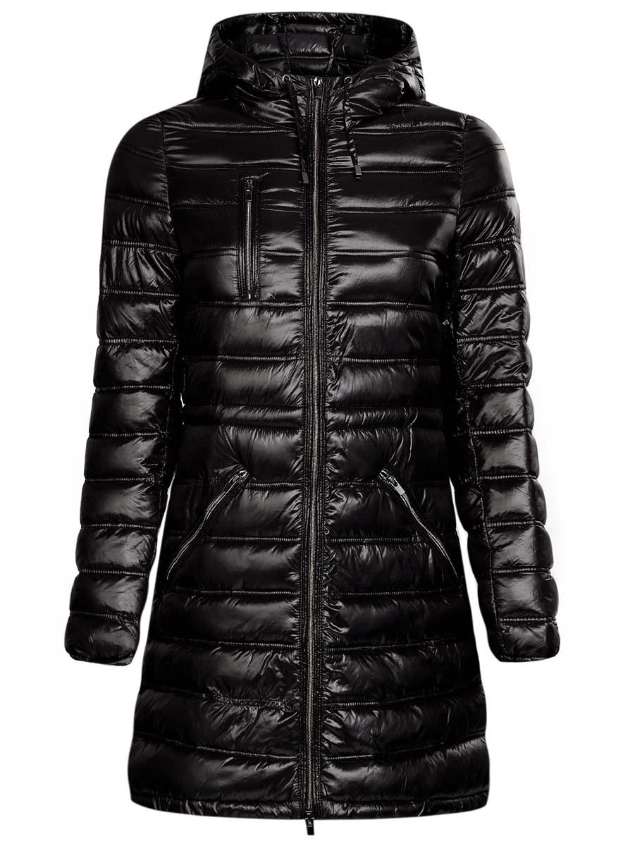Куртка10203056/33445/2900NЖенская куртка oodji Ultra выполнена из 100% полиамида. В качестве подкладки также используется полиамид, а утеплителем служит 100% полиэстер. Модель с несъемным капюшоном застегивается на застежку-молнию с внутренней ветрозащитной планкой. Край капюшона и низ изделия дополнены шнурком-кулиской. Низ рукавов присобран на резинку. Спереди расположено три прорезных кармана на застежках-молниях, один из которых расположен на груди.