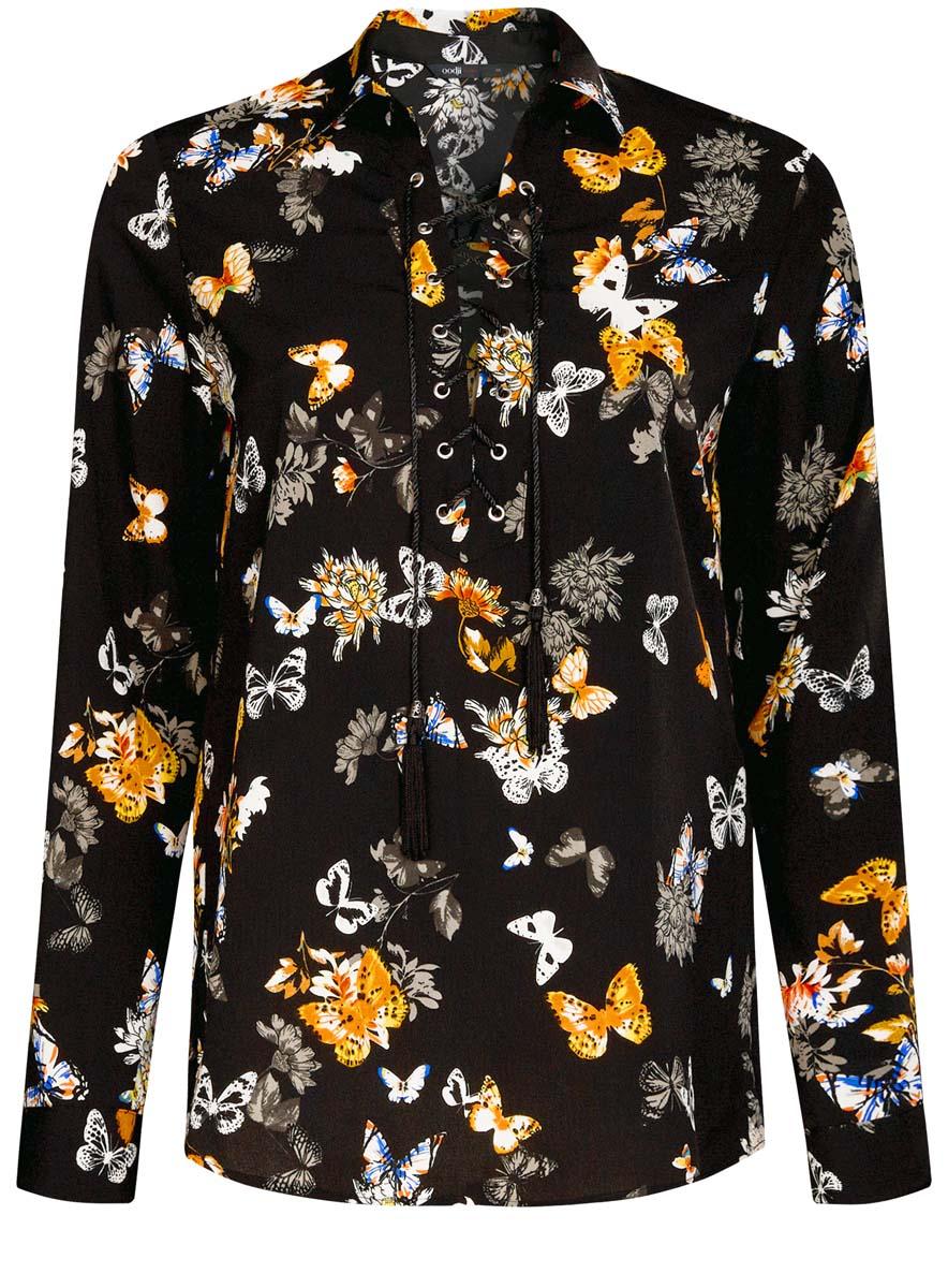 Блузка11411125/45862/2919UОригинальная женская блузка oodji Ultra, выполненная из качественного полиэстера, не оставит вас без внимания. Модель с отложным воротником и длинными рукавами дополнена спереди стильной шнуровкой. Манжеты рукавов имеют застежки-пуговицы. Оформлена блузка контрастным принтом.