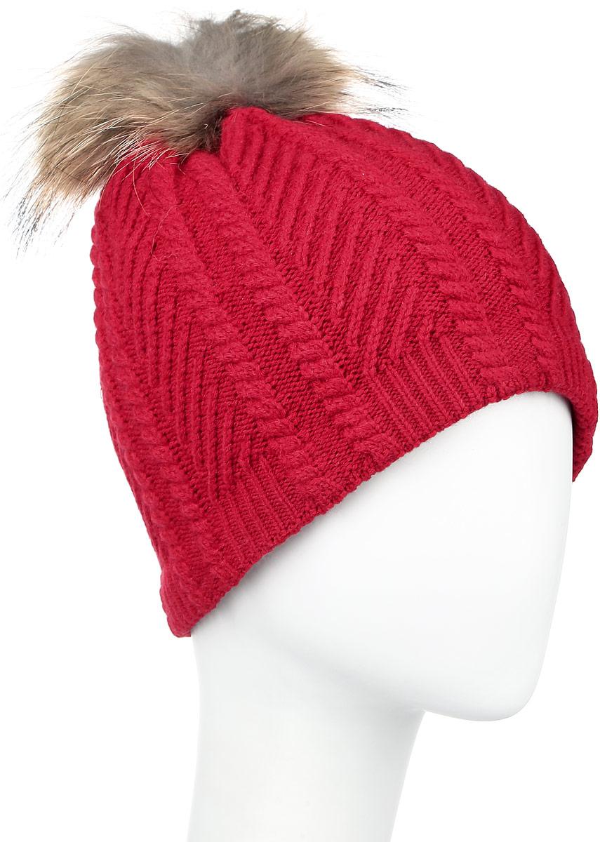 W16-11135_305Стильная женская шапка Finn Flare дополнит ваш наряд и не позволит вам замерзнуть в холодное время года. Шапка выполнена из высококачественной пряжи, что позволяет ей великолепно сохранять тепло и обеспечивать высокую эластичность и удобство посадки. Подкладка изготовлена из мягкого флиса. Модель оформлена брендовой металлической пластиной и дополнена помпоном из натурального меха.