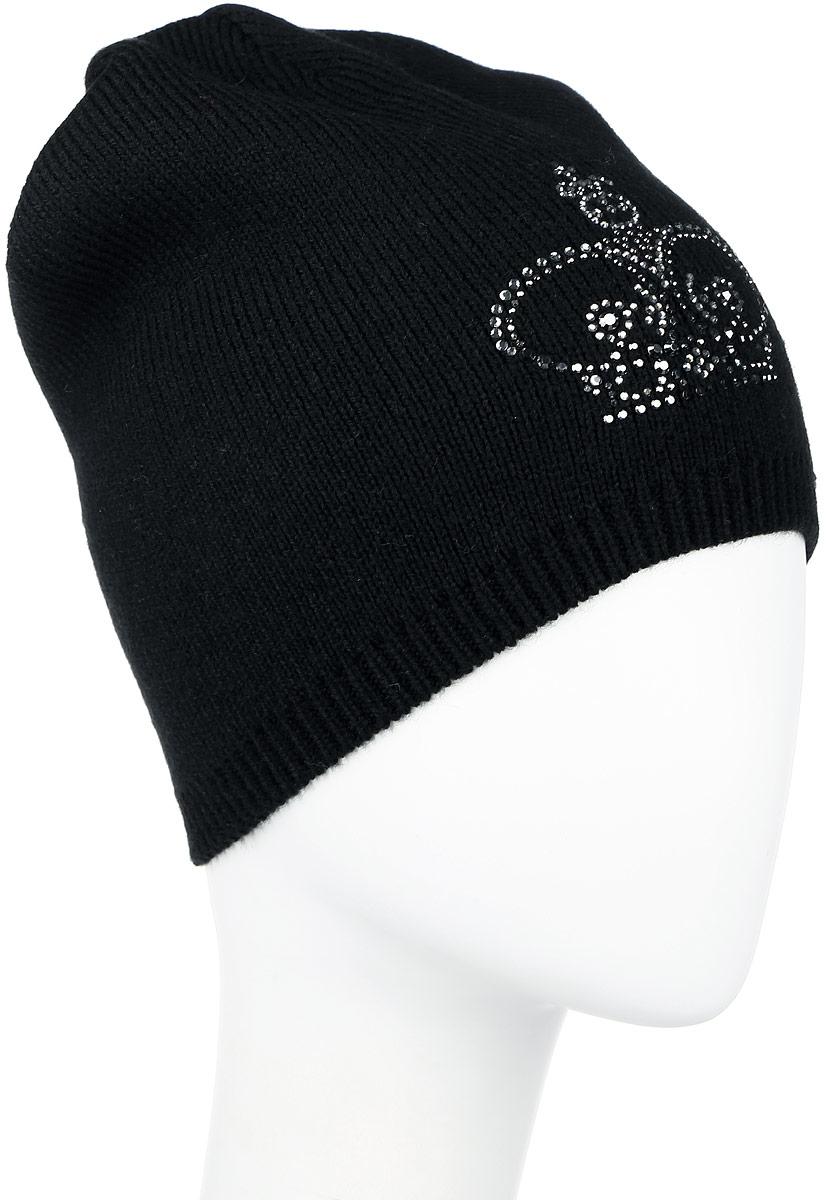 ШапкаW16-11134_200Женская шапка Finn Flare, выполненная из акрила и шерсти, отлично дополнит ваш образ в холодную погоду. Модель по низу связана узкой резинкой. Оформлено изделие аппликацией из страз в виде короны и фирменной металлической нашивкой. Шапка составит идеальный комплект с модной верхней одеждой и подарит вам уют и тепло. Уважаемые клиенты! Размер, доступный для заказа, является обхватом головы.