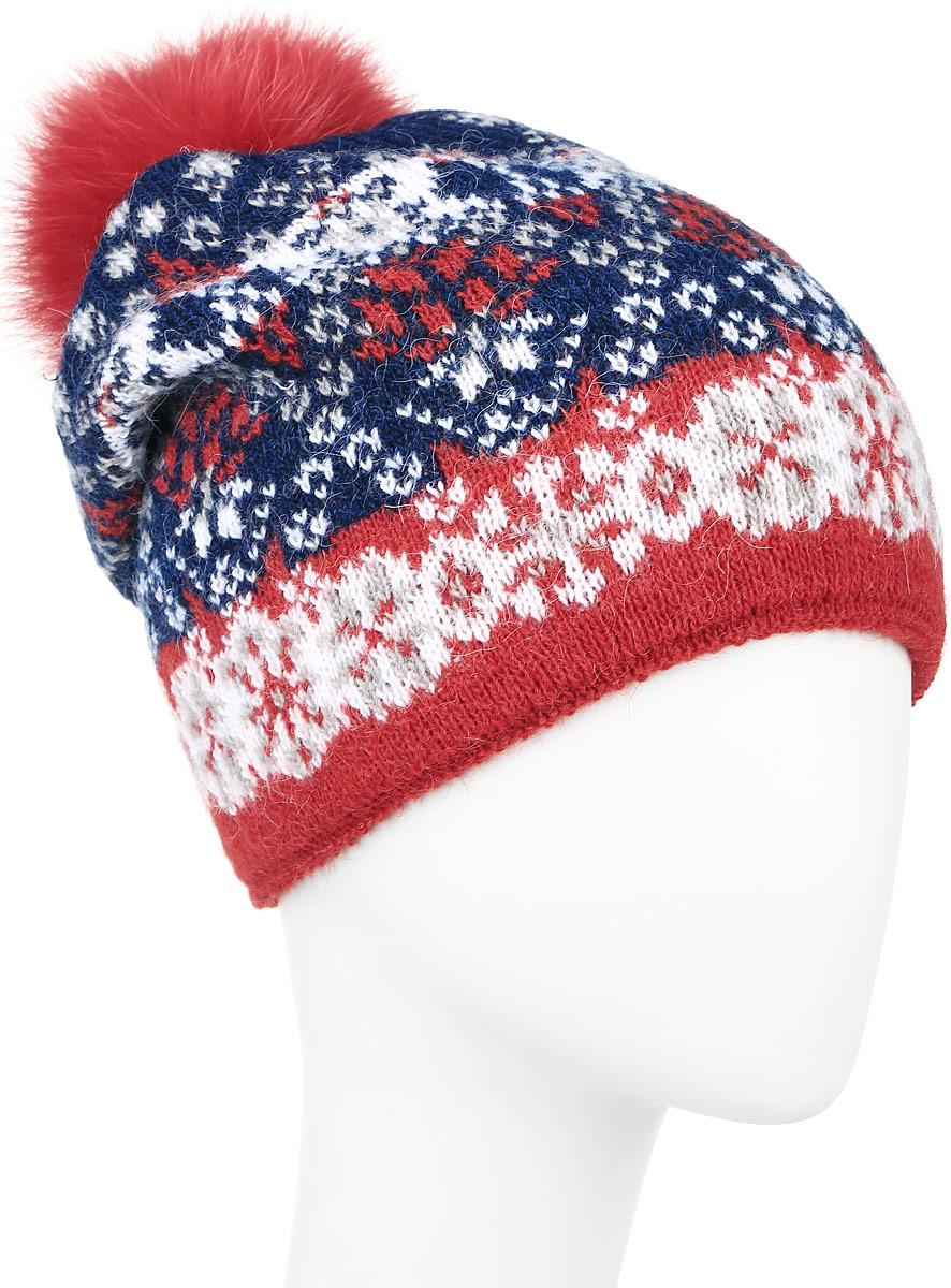 W16-12125_138Теплая женская шапка Finn Flare, выполненная из высококачественной пряжи, отлично дополнит ваш образ в холодную погоду. Модель дополнена металлической пластиной с названием бренда и пушистым помпоном из натурального меха. Сзади шапка украшена декоративной складкой. Уважаемые клиенты! Размер, доступный для заказа, является обхватом головы.