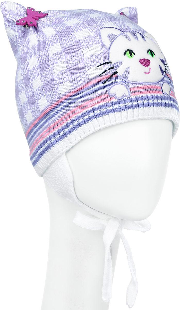 Шапка детскаяD3657-22Стильная шапка для девочки ПриКиндер идеально подойдет для прогулок и активных игр на свежем воздухе. Шапка выполнена из высококачественной пряжи на основе акрила с добавлением хлопка, она невероятно мягкая и приятная на ощупь, великолепно тянется и удобно сидит. Подкладка выполнена их эластичного хлопка. Такая шапочка великолепно дополнит любой наряд. Шапка дополнена ушками с завязками под подбородок. Модель украшена аппликацией с вышивкой в виде кошки и дополнена оригинальными ушками со съемными брошками в виде бабочек со стразами. Удобная шапка станет модным и стильным дополнением гардероба вашей маленькой принцессы, надежно защитит ее от холода и ветра и поднимет ей настроение даже в пасмурные дни! Уважаемые клиенты! Размер, доступный для заказа, является обхватом головы.