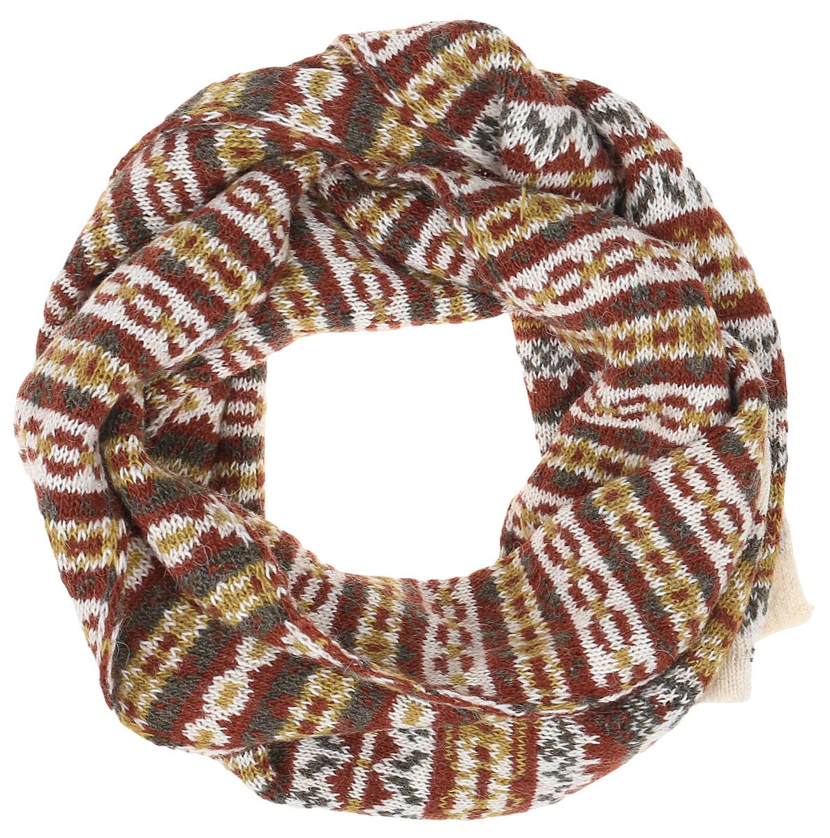 ШарфW16-12118_201Теплый женский шарф Finn Flare станет достойным завершением вашего образа. Шарф изготовлен из сочетания высококачественных материалов. Модель оформлена контрастным принтом с узорами.
