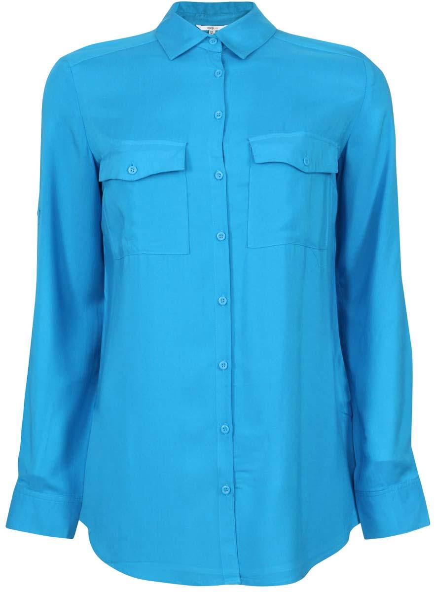 11400355-5/26346/1200NОригинальная женская блузка oodji Ultra, выполненная из качественной вискозы, не оставит вас без внимания. Модель с длинными рукавами и отложным воротником застегивается спереди на пуговицы. Оформлена блузка двумя накладными карманами с клапанами на пуговицах. Рукава изделия дополнены внутренними хлястиками с помощью которых можно регулировать длину.