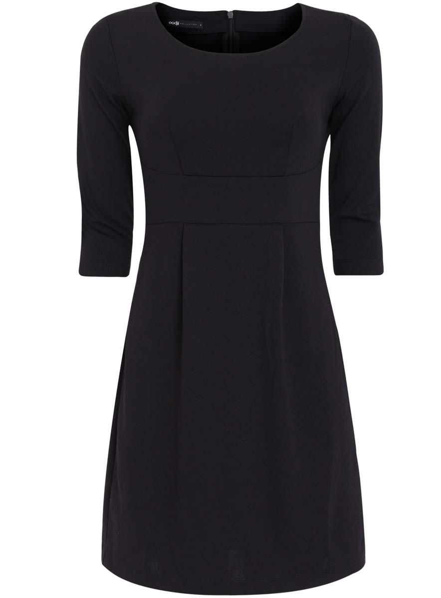 Платье24001048-1/16564/2900NТрикотажное платье oodji Collection изготовлено из полиэстера с добавлением вискозы и эластана. У модели круглый вырез и рукава длиной 3/4. Линия талии оформлена широкой горизонтальной вставкой. Сзади платье застегивается на пластиковую застежку-молнию от верха и до талии.