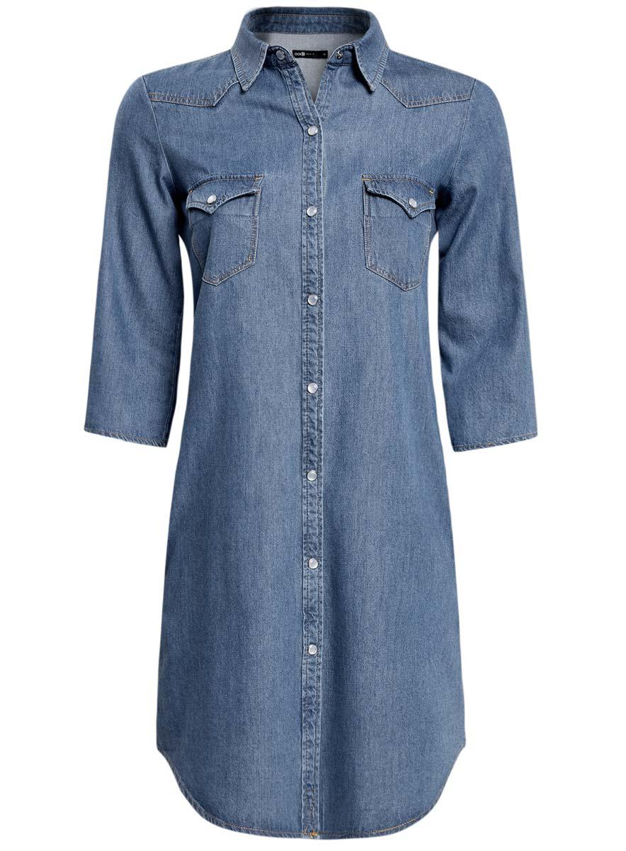 Платье12909041/45251/7900WПлатье oodji Ultra исполнено из денима. Имеет классический воротничок, два кармана по бокам от бедер и два на груди, рукава 3/4. Застегивается спереди на металлические пуговицы.