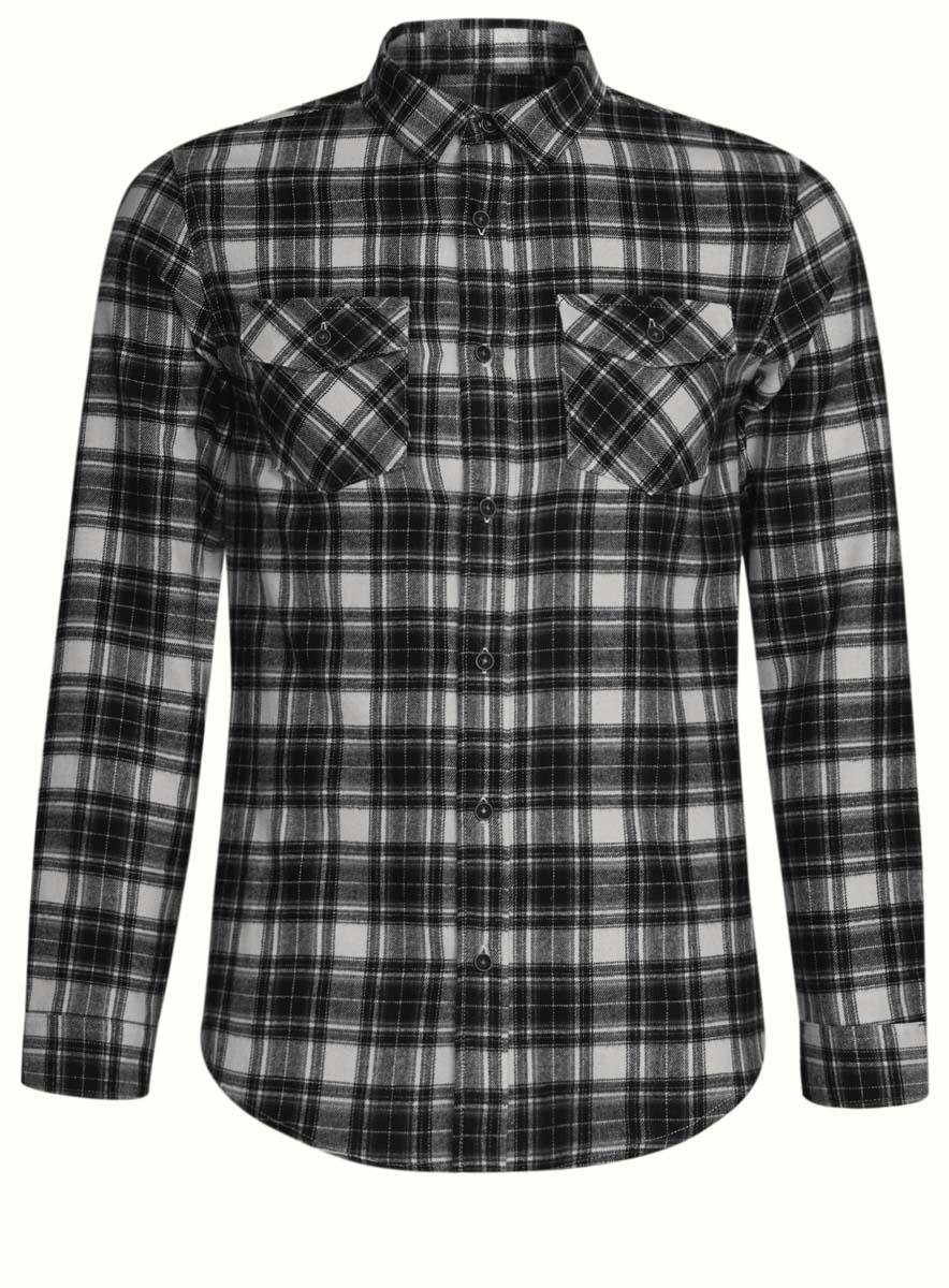 3L310133M/44528N/1029CСтильная мужская рубашка oodji выполнена из высококачественного хлопка. Модель с отложным воротником и длинными рукавами застегивается на пуговицы спереди. Манжеты рукавов дополнены застежками-пуговицами. Оформлена рубашка контрастным принтом в клетку и дополнена двумя нагрудными карманами с планками на кнопках.