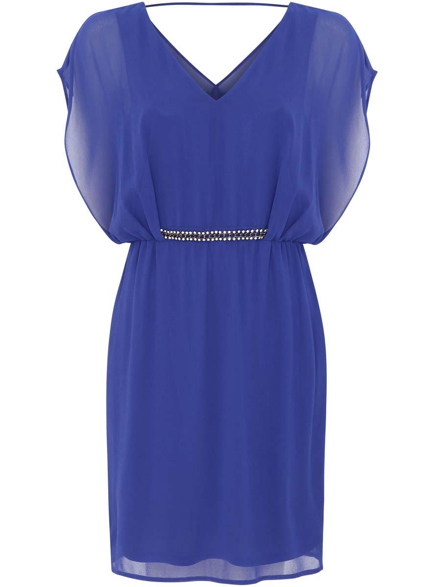 21900307/38584/4500NСтильное платье oodji Collection выполнено из 100% полиэстера. Модель с V- образным вырезом горловины и рукавами крылышко на талии дополнена металлической цепочкой со стразами.
