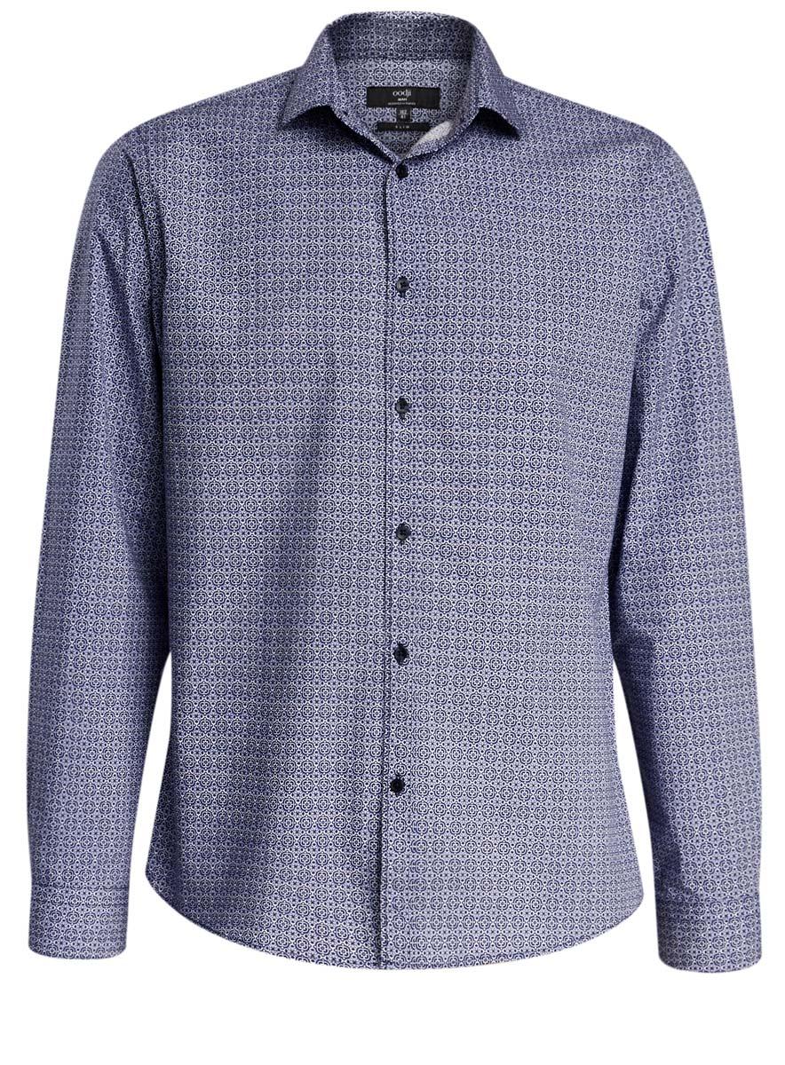 Рубашка3L110235M/19370N/1079GСтильная мужская рубашка oodji выполнена из натурального хлопка. Модель-слим с отложным воротником и длинными рукавами застегивается на пуговицы спереди. Манжеты рукавов дополнены застежками-пуговицами. Оформлена рубашка оригинальным узорчатым принтом.