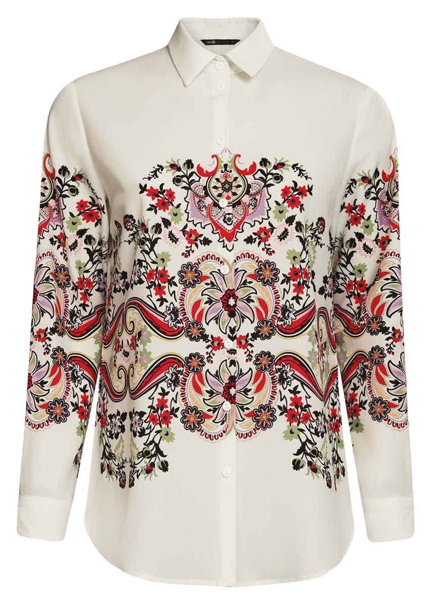 Блузка21411112/46204/124CEОригинальная женская блузка oodji Collection выполнена из качественного полиэстера. Модель прямого силуэта с отложным воротником и длинными рукавами застегивается спереди на пуговицы. Манжеты рукавов также имеют застежки-пуговицы. Оформлена блузка стильным принтом с узорами.