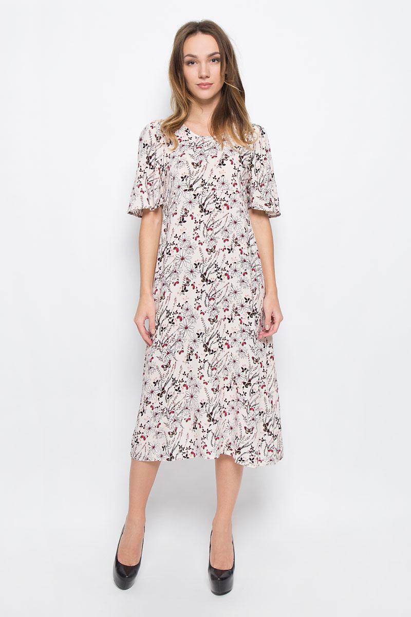 10156485_053Стильное длинное платье Broadway Ouida выполненное из 100% вискозы отлично дополнит ваш гардероб. Модель с круглым вырезом горловины и короткими рукавами-тюльпанами на спинке застегивается на пуговицу.