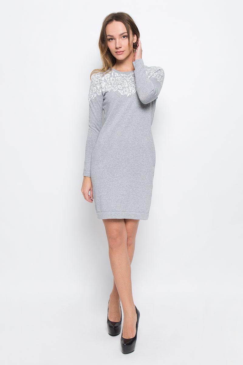 ПлатьеDSw-117/1070-6485Стильное платье Sela Collection выполненное из хлопка с добавлением люрекса отлично дополнит ваш гардероб. Модель с круглым вырезом горловины и длинными рукавами.