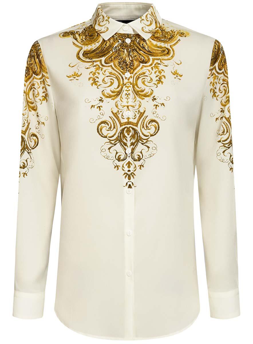 Блузка21411112/46204/2994EОригинальная женская блузка oodji Collection, выполненная из качественного полиэстера, не оставит вас без внимания. Модель прямого силуэта с отложным воротником и длинными рукавами застегивается спереди на пуговицы. Манжеты рукавов также имеют застежки-пуговицы. Оформлена блузка стильным принтом с узорами.