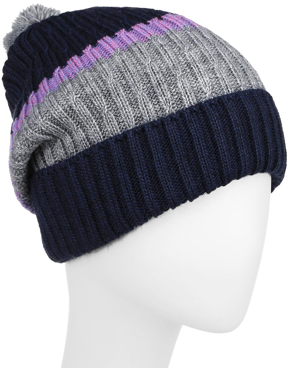ШапкаRWH6502/2Женская шапка Elfrio выполнена из акрила, подкладка - из полиэстера. Модель оформлена узорной вязкой контрастных цветов. Изделие дополнено небольшим помпоном, по низу - подворотом. Уважаемые клиенты! Размер, доступный для заказа, является обхватом головы.