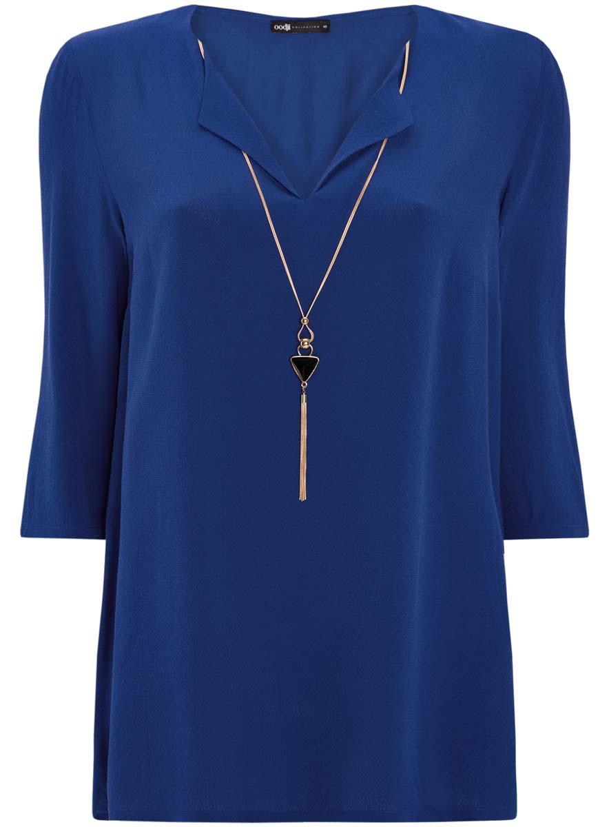 21404021/43281/2900NСтильная женская блузка oodji Collection выполнена из высококачественной вискозы. Модель свободного кроя с V-образным вырезом горловины и рукавами 3/4 украшена спереди съемным украшением из металла и пластика.