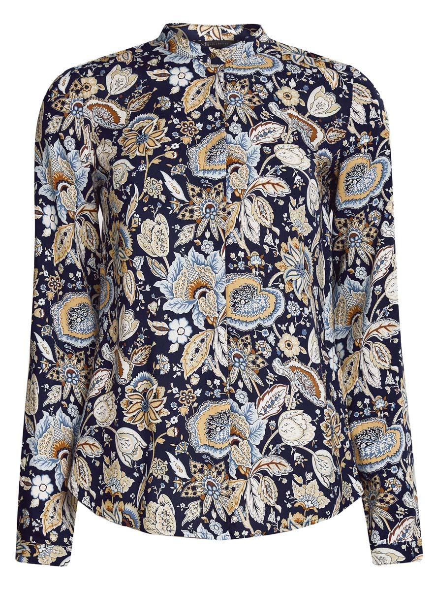 21411063-2/26346/4929GОригинальная женская блузка oodji Collection, выполненная из качественной вискозы, не оставит вас без внимания. Модель с воротником-стойкой и длинными рукавами застегивается спереди на пуговицы скрытые планкой. Манжеты рукавов также имеют застежки-пуговицы. Оформлена блузка стильным принтом с узором.