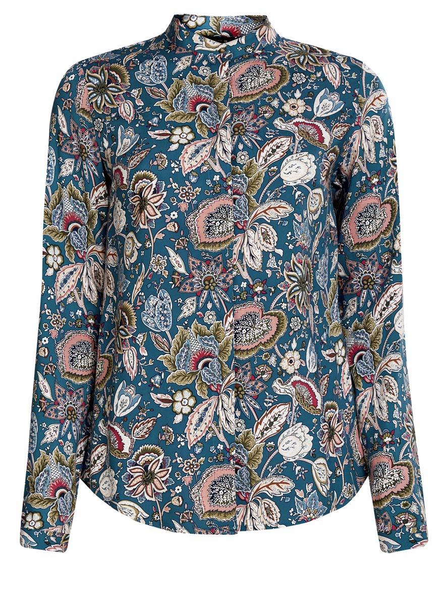 Блузка21411063-2/26346/2955FОригинальная женская блузка oodji Collection, выполненная из качественной вискозы, не оставит вас без внимания. Модель с небольшим воротником-стойкой и длинными рукавами застегивается спереди на пуговицы с защитной планкой. Манжеты на рукавах также имеют застежки-пуговицы. Оформлена блузка стильным принтом с узорами.