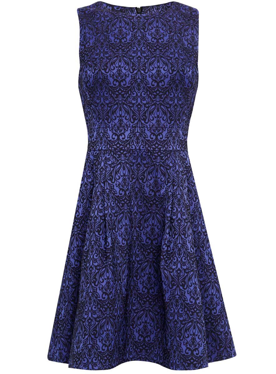 Платье11902151/38560/6E29JМодное платье oodji Ultra выполнено из полиэстера с добавлением полиуретана. Модель без рукавов с круглым вырезом горловины сзади застегивается на застежку-молнию. Оформлено изделие оригинальным принтом.