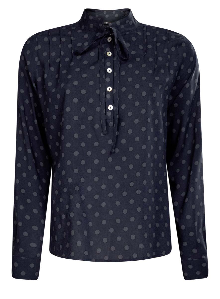 Блузка11411123/26346/2912DОригинальная женская блузка oodji Ultra, выполненная из качественной вискозы, не оставит вас без внимания. Модель с длинными рукавами и воротником-стойкой застегивается спереди на пять пуговиц. Воротник дополнен завязками, а манжеты рукавов также застегиваются на пуговицы. Оформлена блузка стильным принтом в горох. По спинке модель немного удлинена.