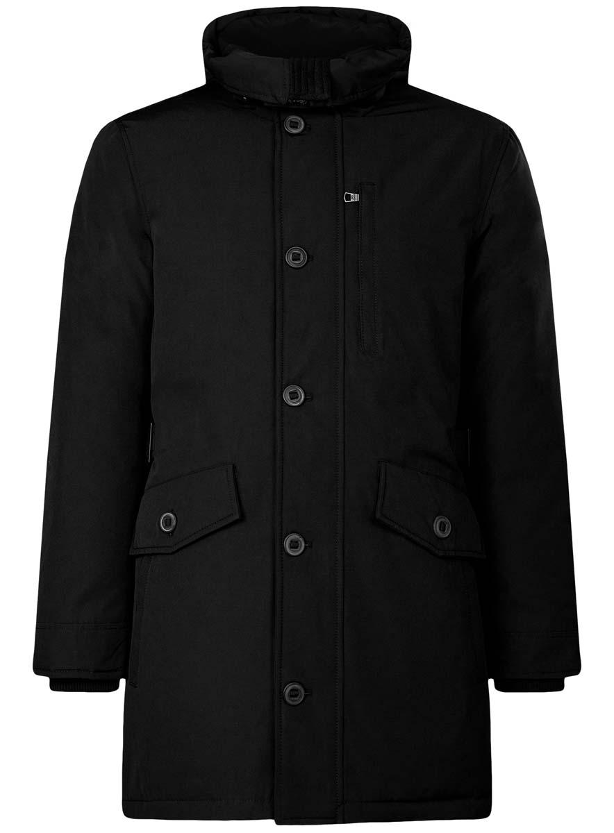 Куртка1L414003M/44429N/2900NСтильная мужская куртка oodji Lab изготовлена из полиэстера с добавлением хлопка. В качестве утеплителя используется полиэстер. Куртка с несъемным капюшоном застегивается на застежку-молнию и дополнительно на клапан с пуговицами. Капюшон регулируется с помощью эластичного шнурка и ремешка. Спереди расположены четыре накладных кармана, два из которых с клапанами на пуговицах, на груди - прорезной карман на застежке-молнии, с внутренней стороны - два прорезных кармана на кнопках и накладной карман с клапаном на кнопке. Манжеты рукавов дополнены трикотажными напульсниками. На спинке по линии талии расположен регулирующий ремешок с пряжками.