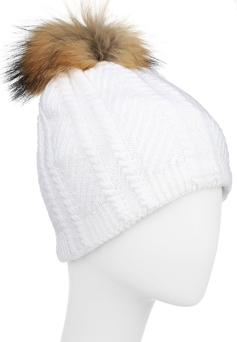 ШапкаW16-11135_305Стильная женская шапка Finn Flare дополнит ваш наряд и не позволит вам замерзнуть в холодное время года. Шапка выполнена из высококачественной пряжи, что позволяет ей великолепно сохранять тепло и обеспечивать высокую эластичность и удобство посадки. Подкладка изготовлена из мягкого флиса. Модель оформлена брендовой металлической пластиной и дополнена помпоном из натурального меха.