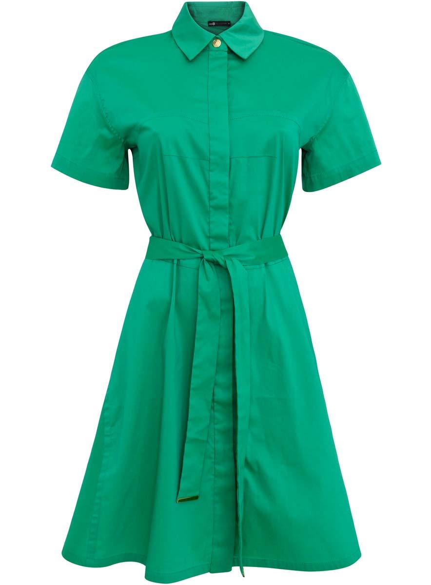Платье21900311/42358/6D00NСтильное платье-рубашка oodji Collection выполнено из хлопка с добавлением полиамида и полиуретана. Платье с отложным воротником застегивается на пуговицы и металлическую кнопку. Модель имеет короткий рукав, который регулируется при помощи хлястика с кнопкой. На талии изделие дополнено поясом.