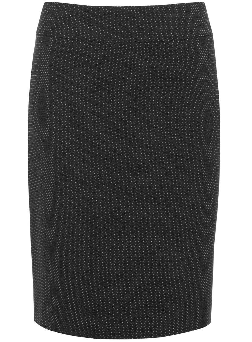 Юбка21601236-4/42343/2912DЮбка oodji Collection выполнена из качественного комбинированного материала. В качестве материала подкладки используется полиэстер. Модель-карандаш застегивается сзади по спинке на потайную застежку-молнию. Оформлена юбка принтом в мелкую крапинку и дополнена шлицей.