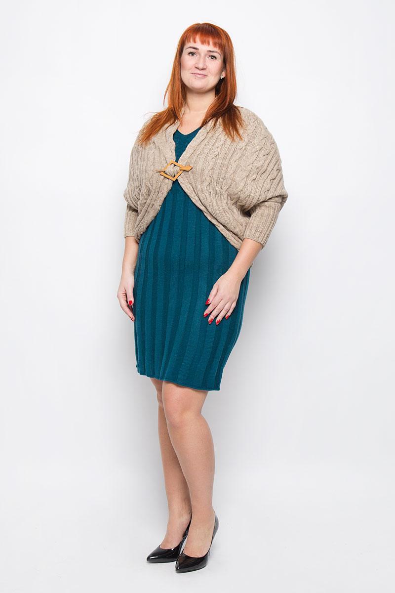 1319Привлекательное болеро Milana Style, выполненное из качественной пряжи, - незаменимый предмет вашего гардероба. Модель свободного кроя с рукавами 3/4 летучая мышь дополнена оригинальной съемной застежкой.